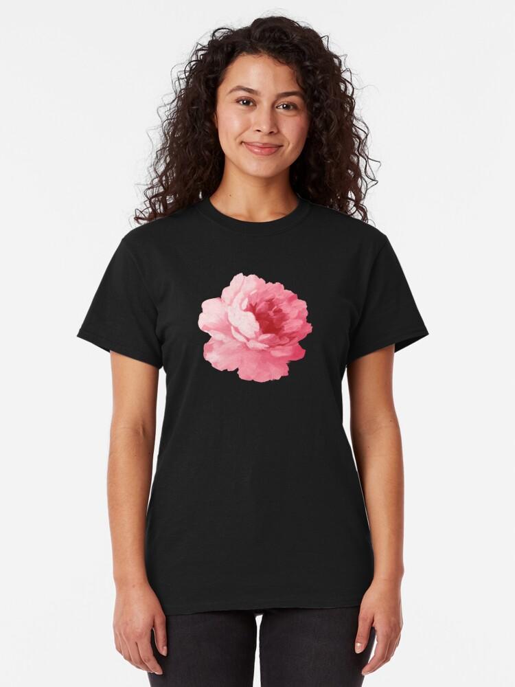 Alternative Ansicht von Rosa Pfingstrose der Blume Classic T-Shirt