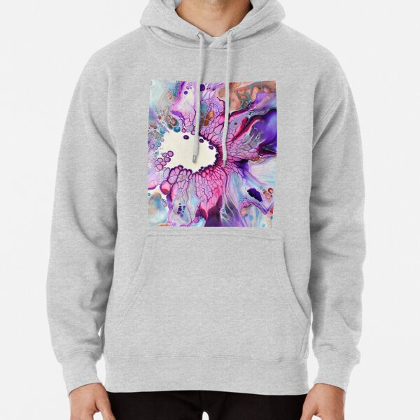 Blue and Purple Acrylic Pour Designs Pullover Hoodie