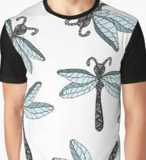 Insect dragon-fly on the gray background Graphic T-Shirt