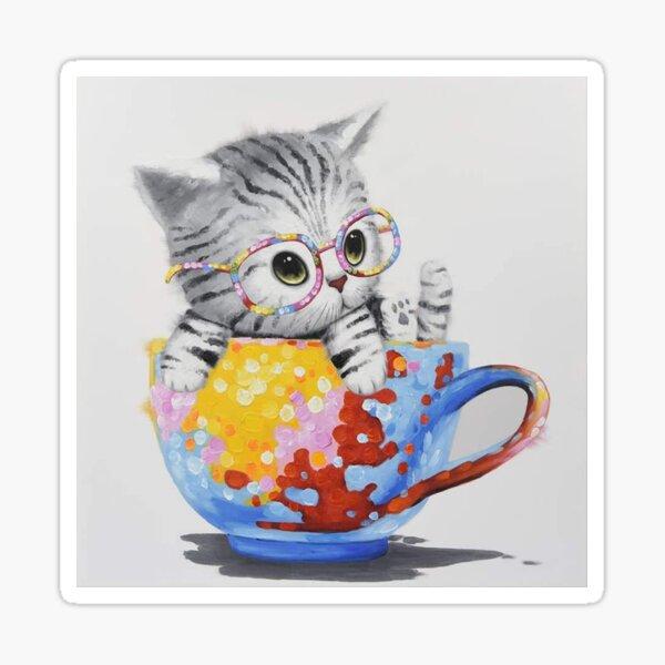 Cat In A Mug Sticker