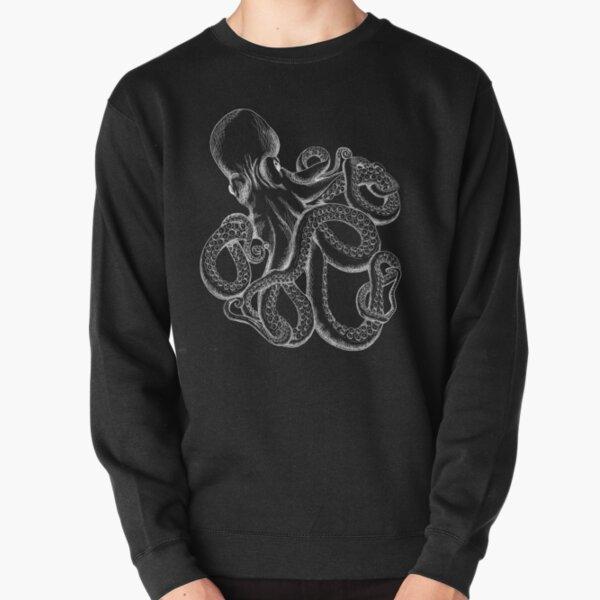Octopus White Line Art Pullover Sweatshirt