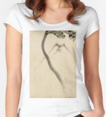 Hokusai Katsushika - A Tree Trunk With Branch And Leaves  Women's Fitted Scoop T-Shirt