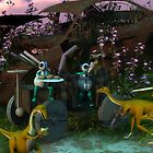 Good Trade - Dinosaurs trading scrap metal to aliens for hamburgers by Syd Baker