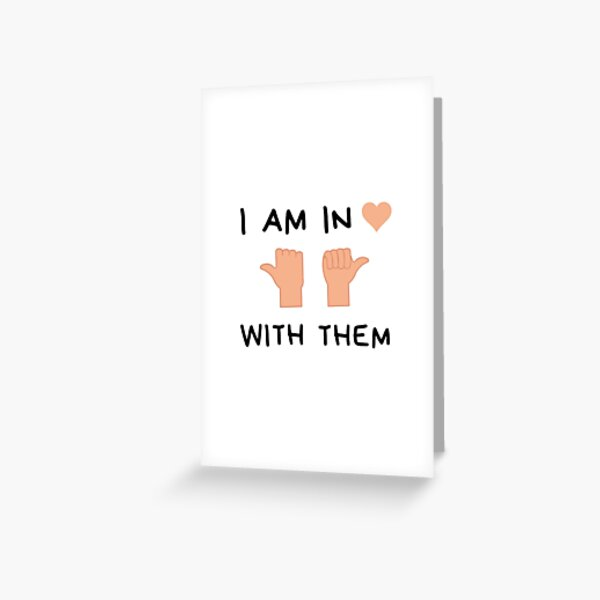 I'm in love with them, throuple middle spoon polyamory white Greeting Card