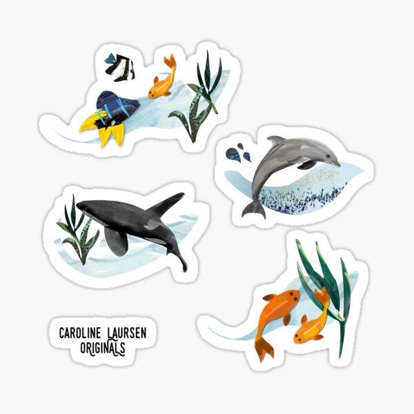 ORIGINALS - Ocean life sticker pack #1.  Bottlenose Dolphin, Orca Killer Whale, Koi, Damsel fish illustration art. Sticker
