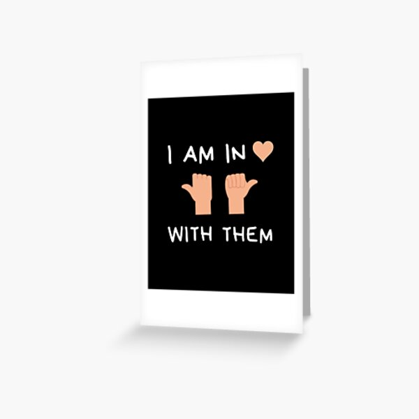 I'm in love with them, throuple middle spoon polyamory black Greeting Card