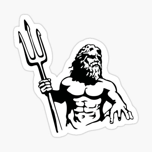 King Neptune Black Sticker