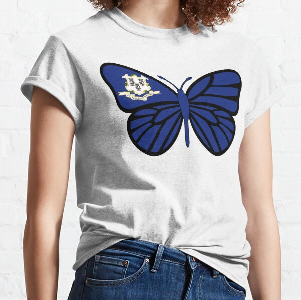 State of Connecticut Flag Butterfly Classic T-Shirt