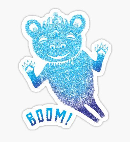 Blue Berlin Bear Goes Boom Sticker