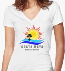 Costa Maya, Mexico Women's Fitted V-Neck T-Shirt