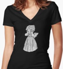 Don't Cry, Li'l Angel Women's Fitted V-Neck T-Shirt