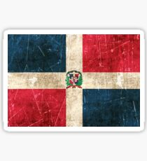 Vintage Aged and Scratched Dominican Republic Flag Sticker
