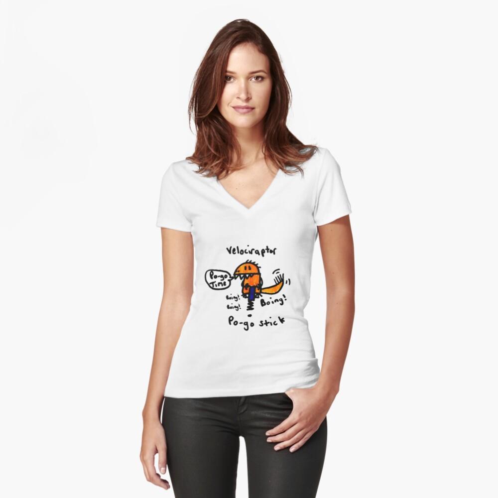 Pogo Velociraptor Fitted V-Neck T-Shirt