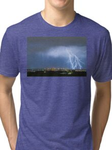 Northeast Colorado Lightning Strike and City Lights Tri-blend T-Shirt