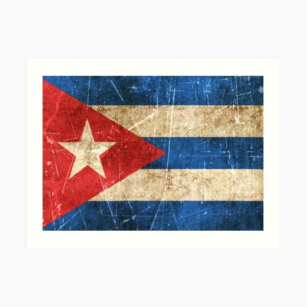 Vintage Aged and Scratched Cuban Flag Art Print