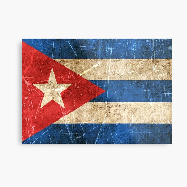 Vintage Aged and Scratched Cuban Flag Metal Print