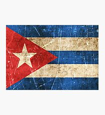 Vintage Aged and Scratched Cuban Flag Photographic Print