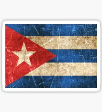 Vintage Aged and Scratched Cuban Flag Sticker