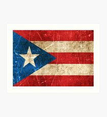 Vintage Aged and Scratched Puerto Rican Flag Art Print