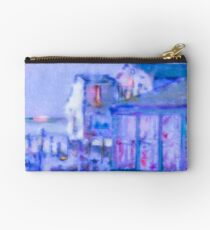 Blue Abstract Whale Art Tote Bag Studio Pouch