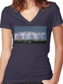Severe Thunderstorm Panorama Women's Fitted V-Neck T-Shirt
