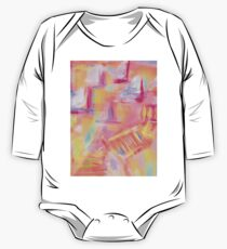 Colorful Abstract Art Sailboat in Pastels One Piece - Long Sleeve