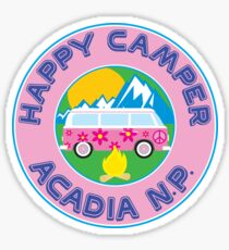 HAPPY CAMPER ACADIA NATIONAL PARK MAINE CAMPING PEACE VOLKSWAGEN HIPPIE PEACE Sticker