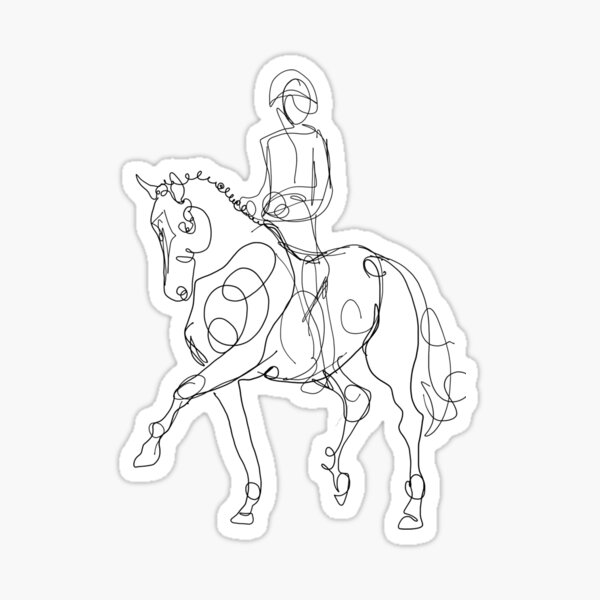 Dressage Horse and Rider Line Drawing Sticker