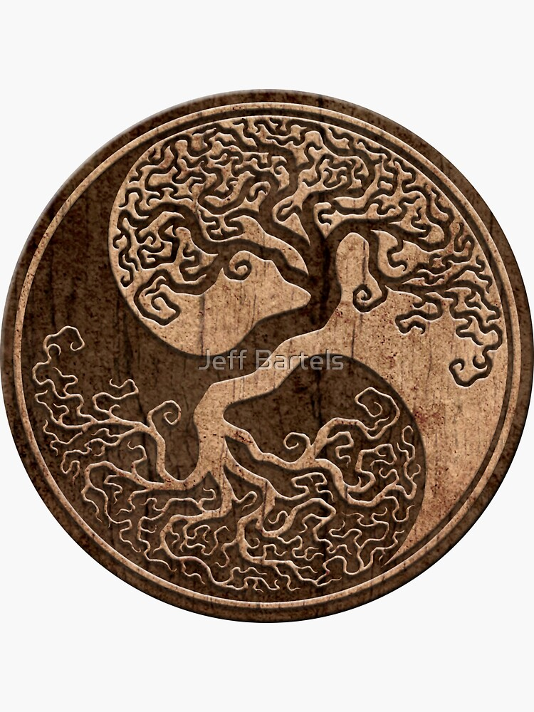 Grober Holzmaserung-Effekt-Baum des Lebens Yin Yang von JeffBartels
