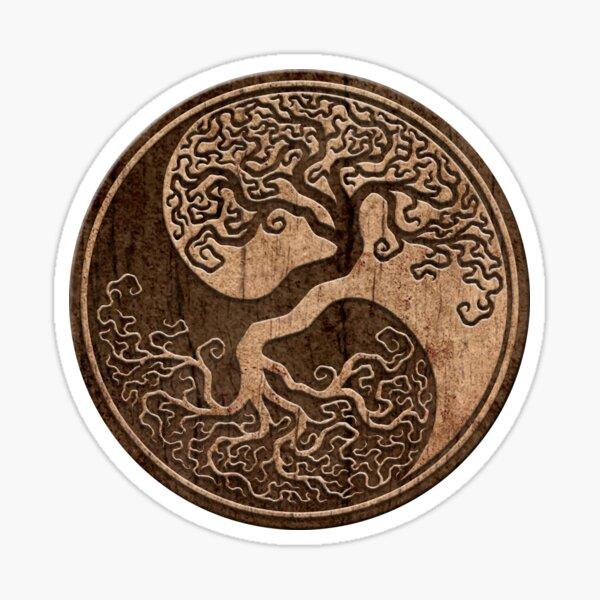 Grober Holzmaserung-Effekt-Baum des Lebens Yin Yang Sticker