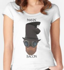 "TF2 Gibus Engineer ""Makin' Bacon"" Women's Fitted Scoop T-Shirt"