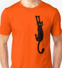 Black Cat Holding On Unisex T-Shirt