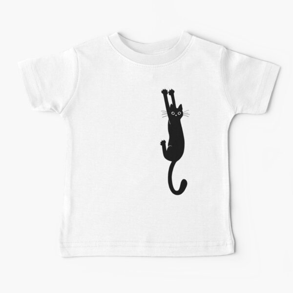 Black Cat Holding On Baby T-Shirt