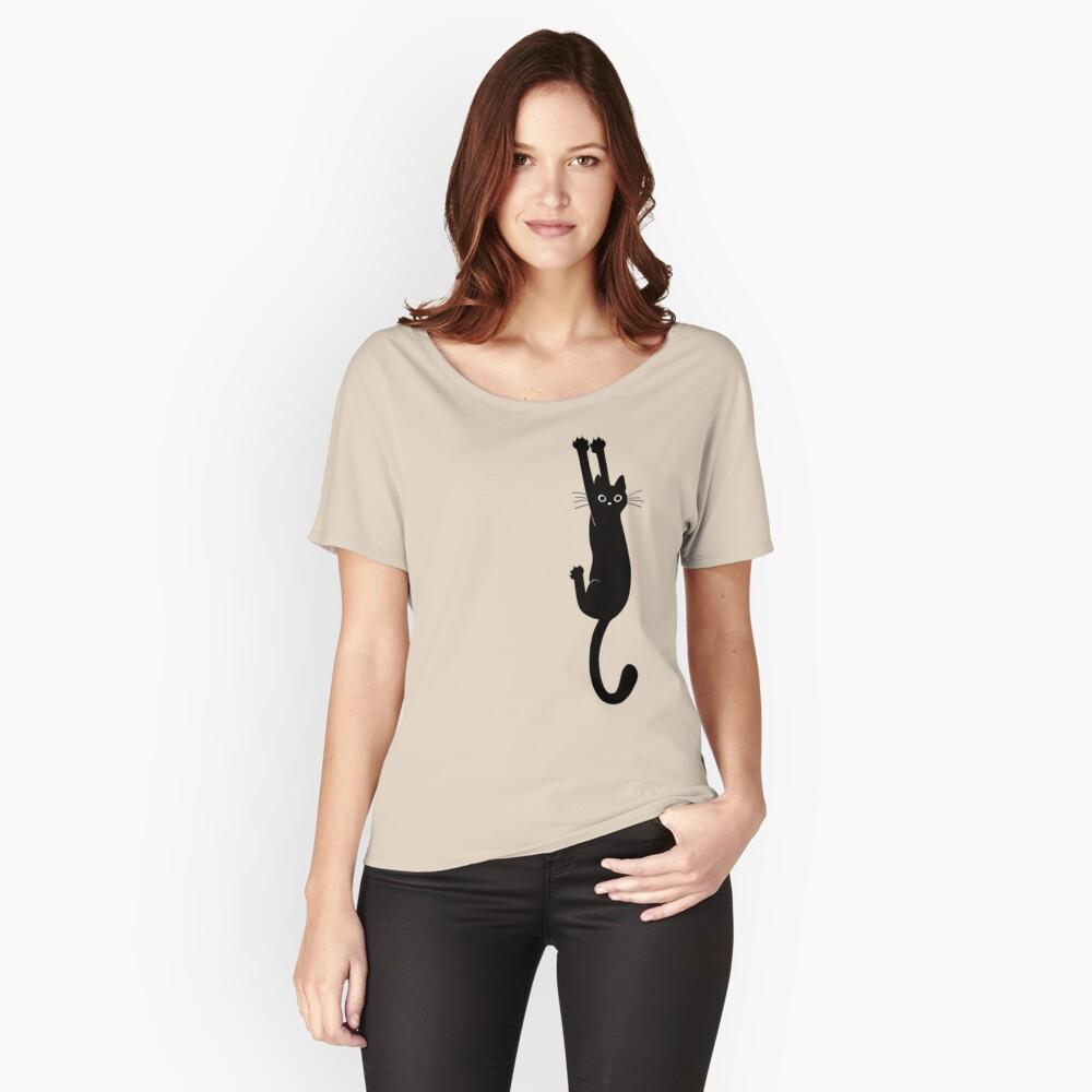 Black Cat Holding On Relaxed Fit T-Shirt
