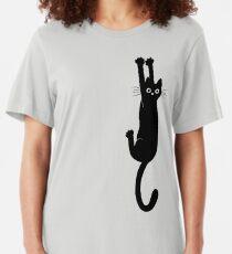 Black Cat Holding On Slim Fit T-Shirt
