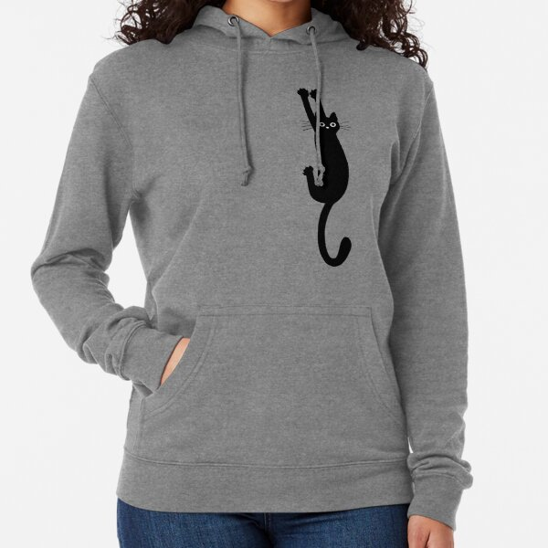 Black Cat Holding On Lightweight Hoodie