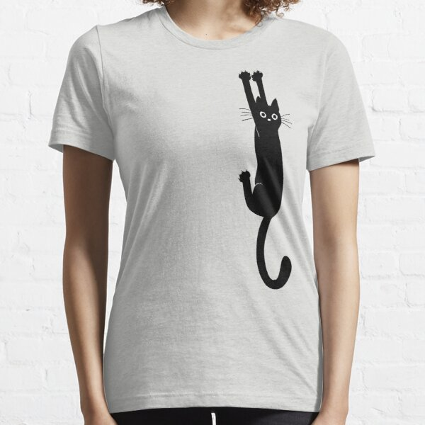 Black Cat Holding On Essential T-Shirt