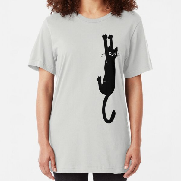 Black Cat Holding On Slim Fit T-Shirt