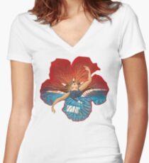 Flower Hawaii Pele Women's Fitted V-Neck T-Shirt