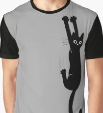 Black Cat Holding On Graphic T-Shirt