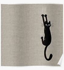 Black Cat Holding On Poster