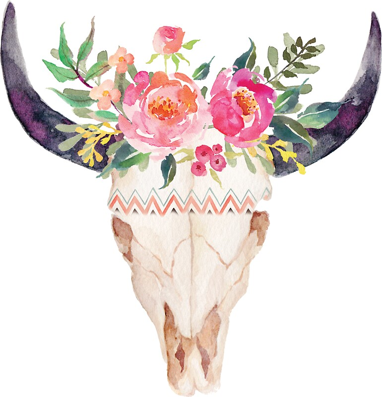 Quot Watercolor Bull Skull Flowers Quot Stickers By Southprints