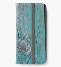 Wood Knot in Turquoise - Vertical iPhone Wallet