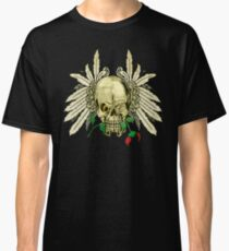 Cool Skull with Wings and Dead Rose Classic T-Shirt