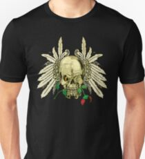 Cool Skull with Wings and Dead Rose Unisex T-Shirt