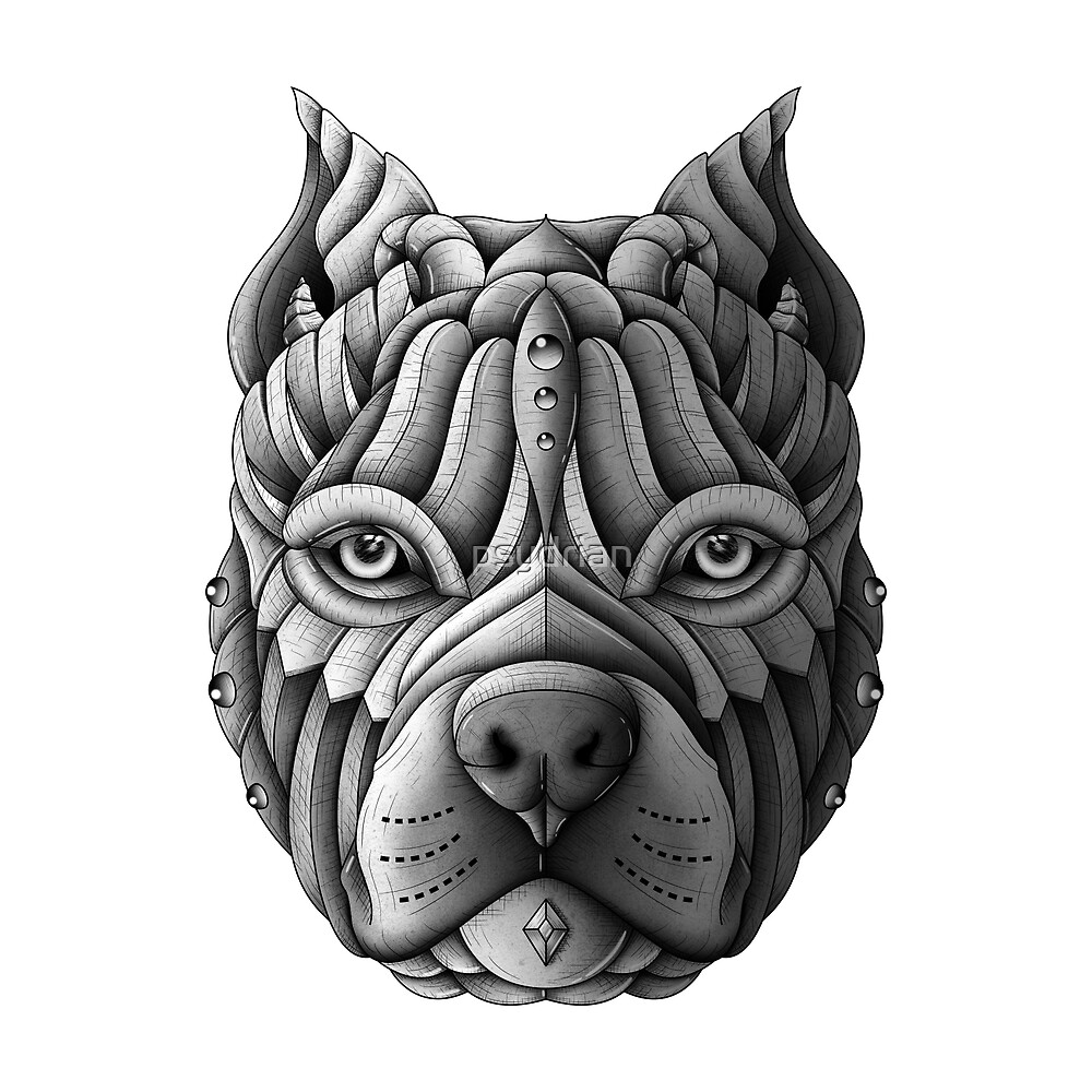 Quot Ornate Pitbull Quot By Psydrian Redbubble