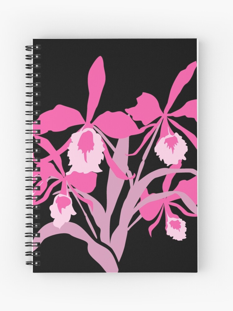 Pink Graphic Orchid Cattleya Spiral Notebook
