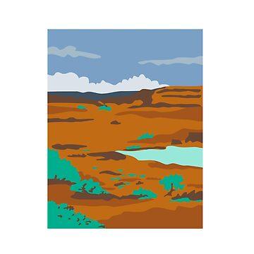 Columbian Basin Desert Scene WPA by patrimonio