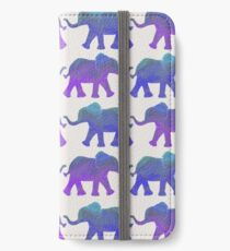Follow The Leader - Painted Elephants in Purple, Royal Blue, & Mint iPhone Wallet/Case/Skin
