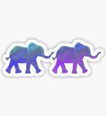 Follow The Leader - Painted Elephants in Purple, Royal Blue, & Mint Sticker